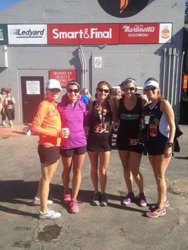 Meg, Leslie, Trinity, Me, Hillary post-race