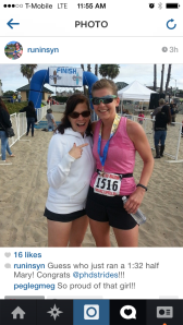 Alisyn's instagram immediately following my finish - so fun to see her as soon as I crossed the finishline